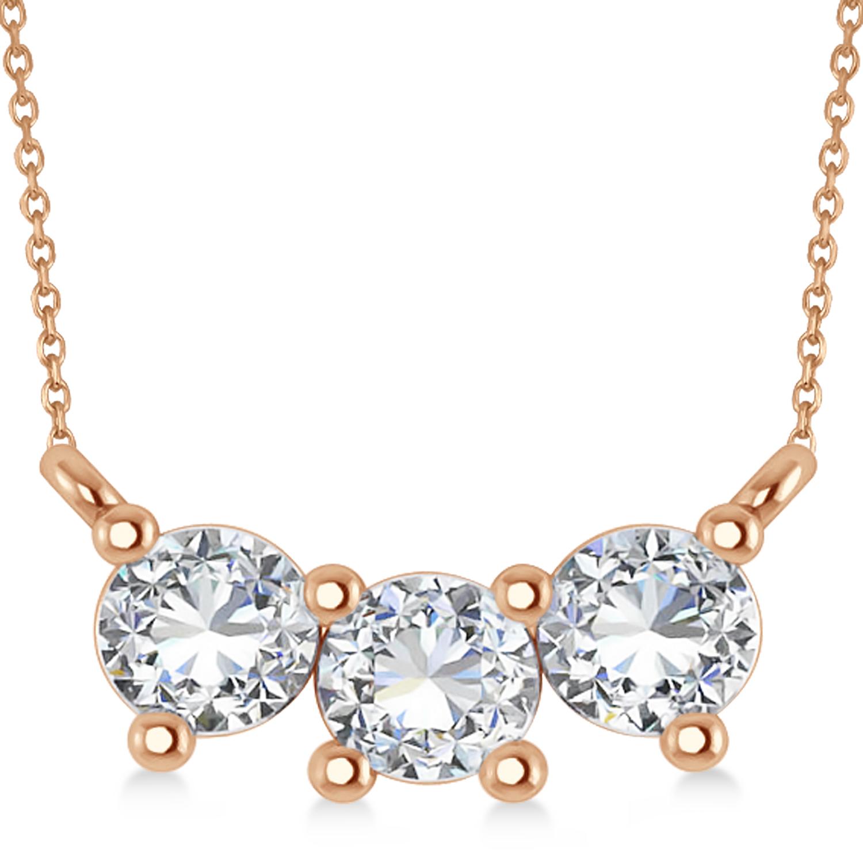 Three Stone Diamond Pendant Necklace 14k Rose Gold (1.00ct)
