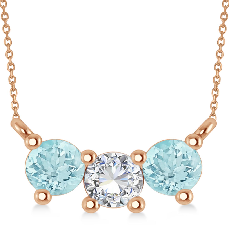 Three Stone Diamond & Aquamarine Pendant Necklace 14k Rose Gold (1.00ct)