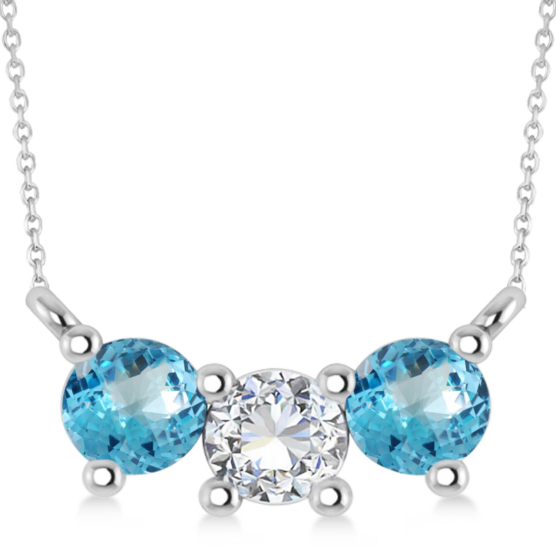 Three Stone Diamond & Blue Topaz Pendant Necklace 14k White Gold (1.00ct)