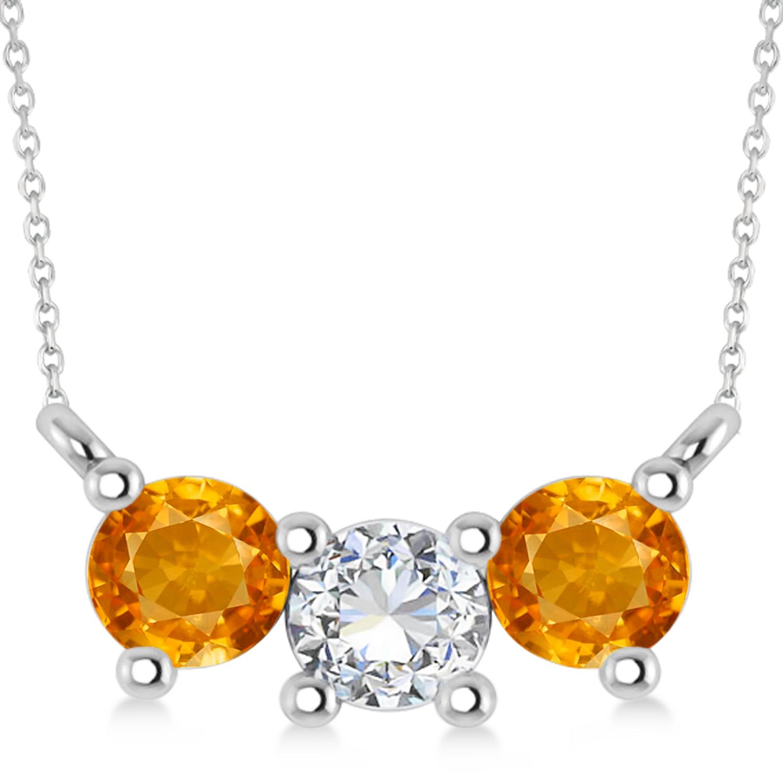 Three Stone Diamond & Citrine Pendant Necklace 14k White Gold (1.00ct)
