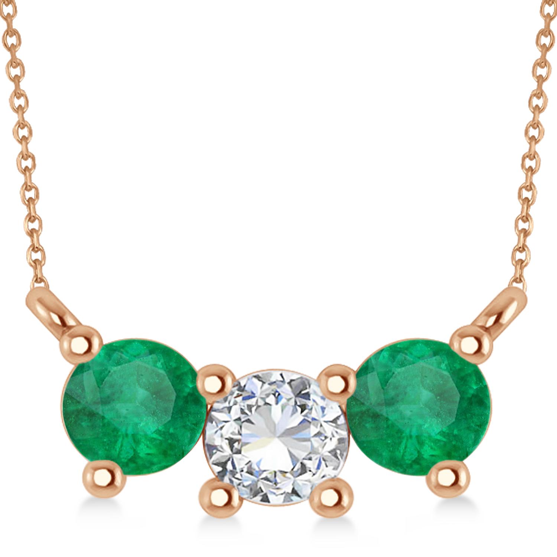 Three Stone Diamond & Emerald Pendant Necklace 14k Rose Gold (1.00ct)
