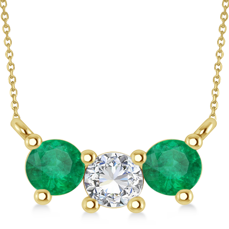 Three Stone Diamond & Emerald Pendant Necklace 14k Yellow Gold (1.00ct)
