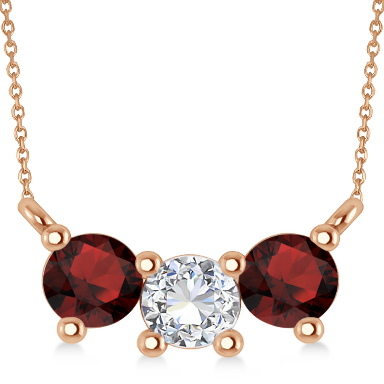 Three Stone Diamond & Garnet Pendant Necklace 14k Rose Gold (1.00ct)