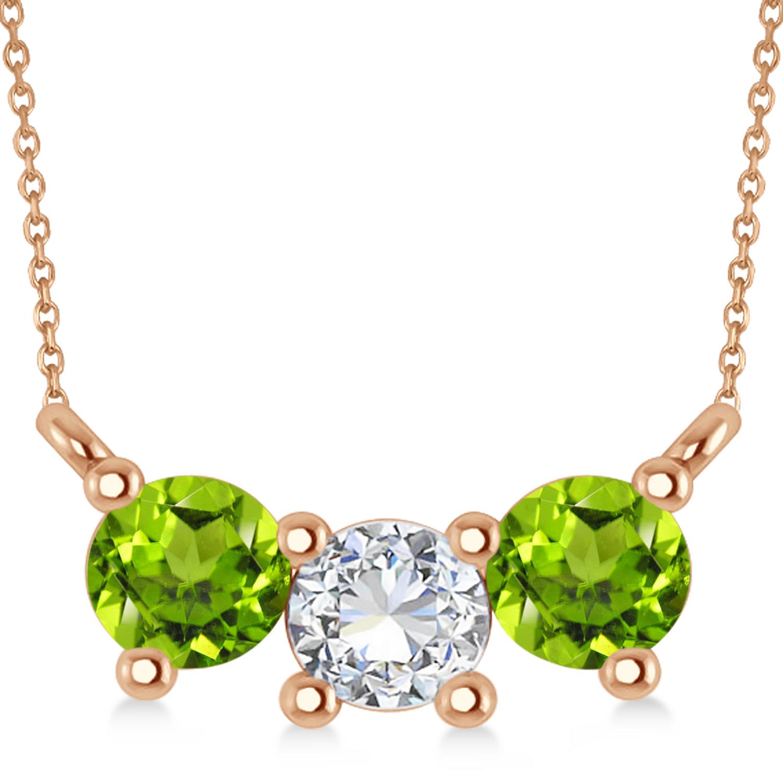 Three Stone Diamond & Peridot Pendant Necklace 14k Rose Gold (1.00ct)