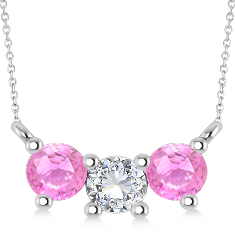 Three Stone Diamond & Pink Sapphire Pendant Necklace 14k White Gold (1.00ct)