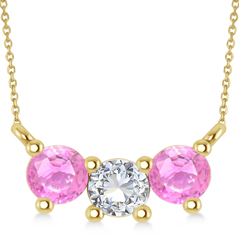 Three Stone Diamond & Pink Sapphire Pendant Necklace 14k Yellow Gold (1.00ct)