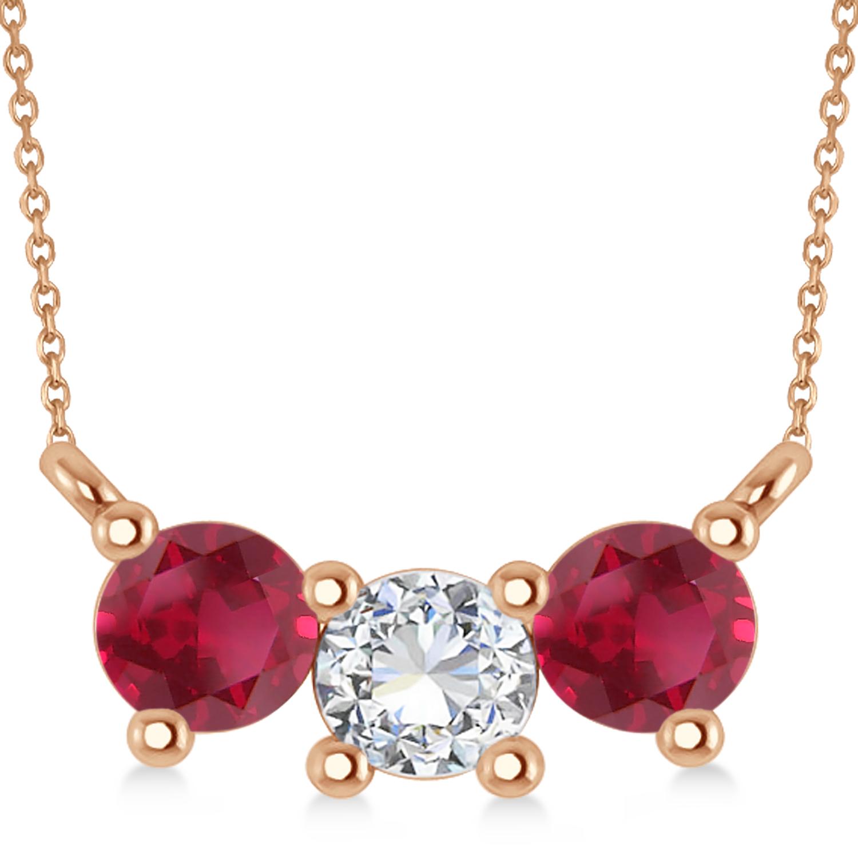 Three Stone Diamond & Ruby Pendant Necklace 14k Rose Gold (1.00ct)
