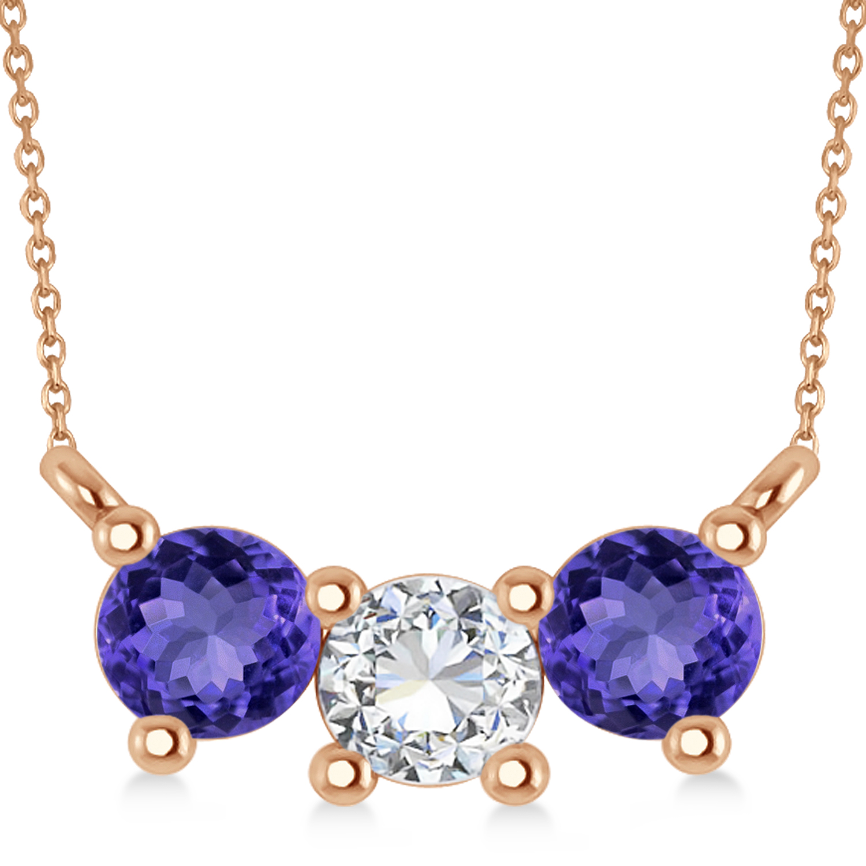 Three Stone Diamond & Tanzanite Pendant Necklace 14k Rose Gold (1.00ct)