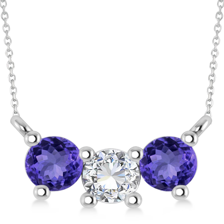 Three Stone Diamond & Tanzanite Pendant Necklace 14k White Gold (1.00ct)