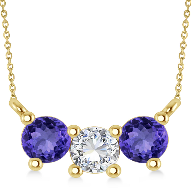 Three Stone Diamond & Tanzanite Pendant Necklace 14k Yellow Gold (1.00ct)