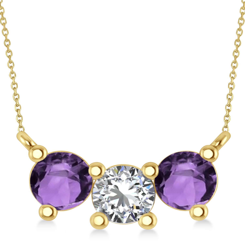 Three Stone Diamond & Amethyst Pendant Necklace 14k Yellow Gold (1.50ct)