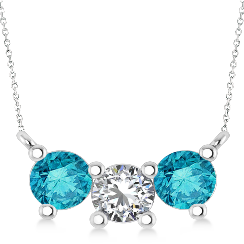 Three Stone Diamond & Blue Diamond Pendant Necklace 14k White Gold (1.50ct)