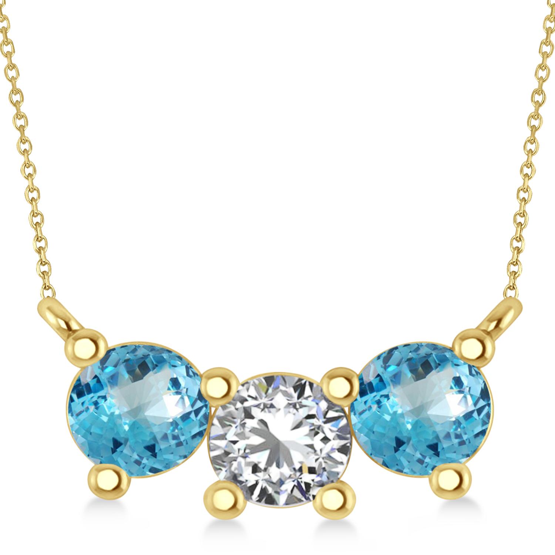 Three Stone Diamond & Blue Topaz Pendant Necklace 14k Yellow Gold (1.50ct)
