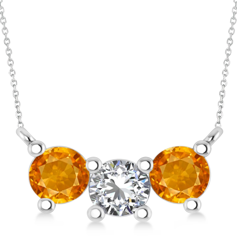 Three Stone Diamond & Citrine Pendant Necklace 14k White Gold (1.50ct)