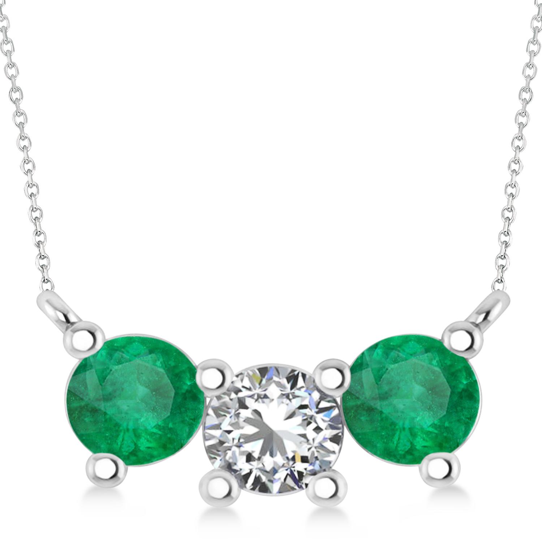 Three Stone Diamond & Emerald Pendant Necklace 14k White Gold (1.50ct)