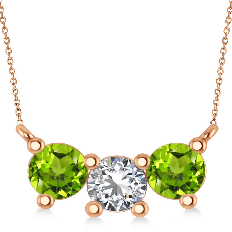 Three Stone Diamond & Peridot Pendant Necklace 14k Rose Gold (1.50ct)