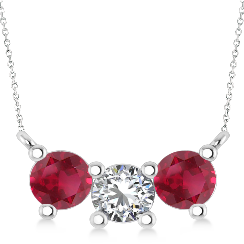 Three Stone Diamond & Ruby Pendant Necklace 14k White Gold (1.50ct)