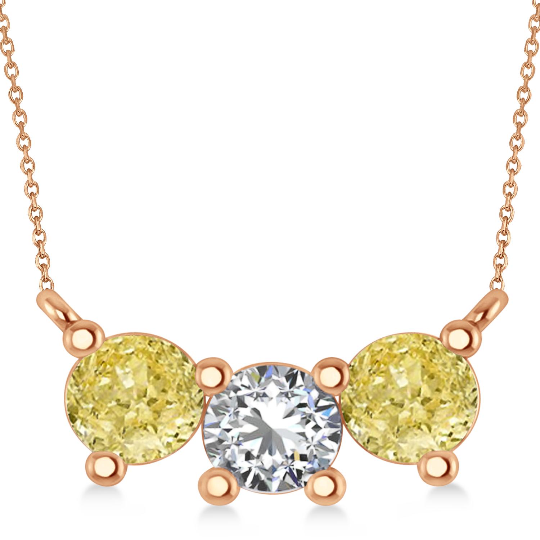 Three Stone Diamond & Yellow Diamond Pendant Necklace 14k Rose Gold (1.50ct)