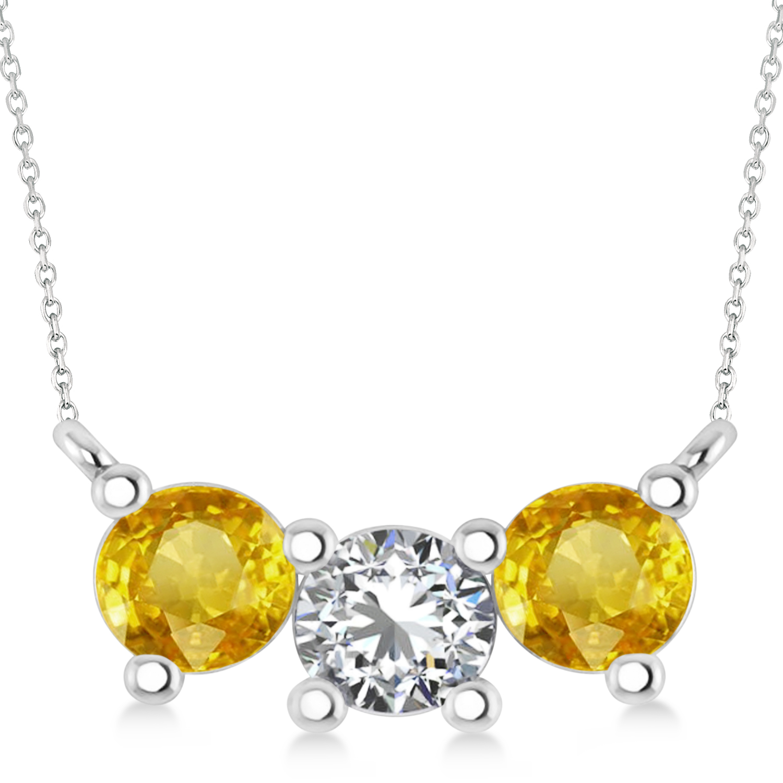 Three Stone Diamond & Yellow Sapphire Pendant Necklace 14k White Gold (1.50ct)