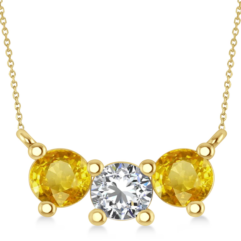 Three Stone Diamond & Yellow Sapphire Pendant Necklace 14k Yellow Gold (1.50ct)