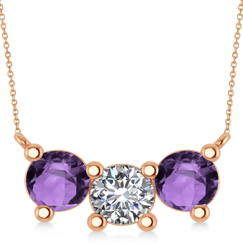 Three Stone Diamond & Amethyst Pendant Necklace 14k Rose Gold (3.00ct)