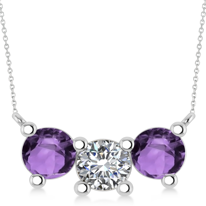 Three Stone Diamond & Amethyst Pendant Necklace 14k White Gold (3.00ct)