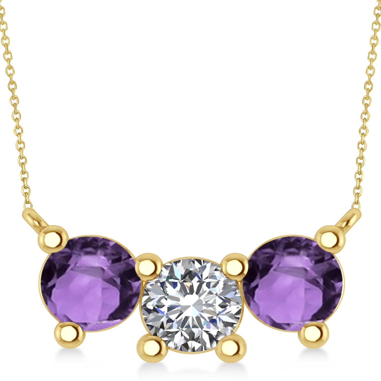 Three Stone Diamond & Amethyst Pendant Necklace 14k Yellow Gold (3.00ct)
