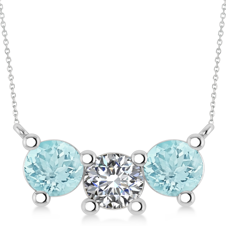 Three Stone Diamond & Aquamarine Pendant Necklace 14k White Gold (3.00ct)