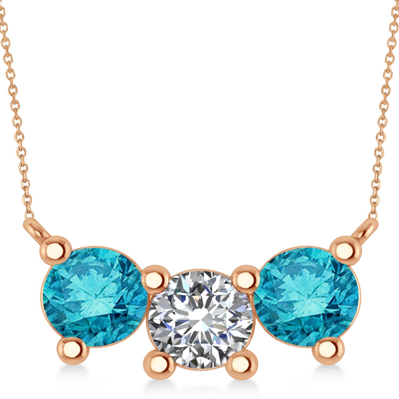 Three Stone Diamond & Blue Diamond Pendant Necklace 14k Rose Gold (3.00ct)