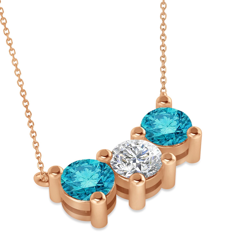 three stone diamond blue diamond pendant necklace 14k. Black Bedroom Furniture Sets. Home Design Ideas