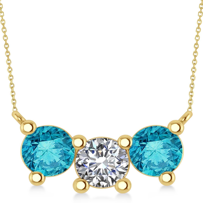Three Stone Diamond & Blue Diamond Pendant Necklace 14k Yellow Gold (3.00ct)