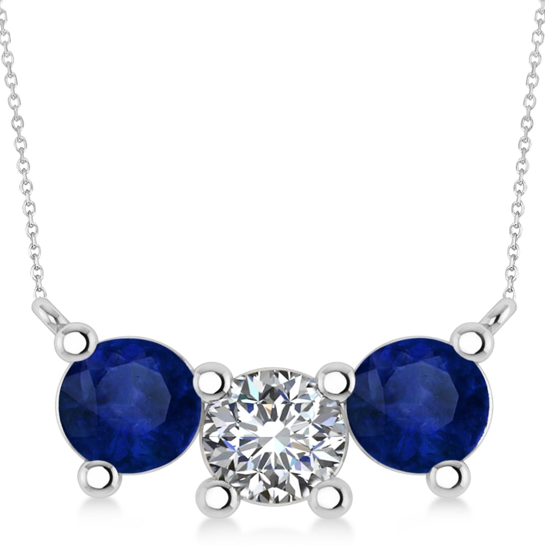 Three Stone Diamond & Blue Sapphire Pendant Necklace 14k White Gold (3.00ct)