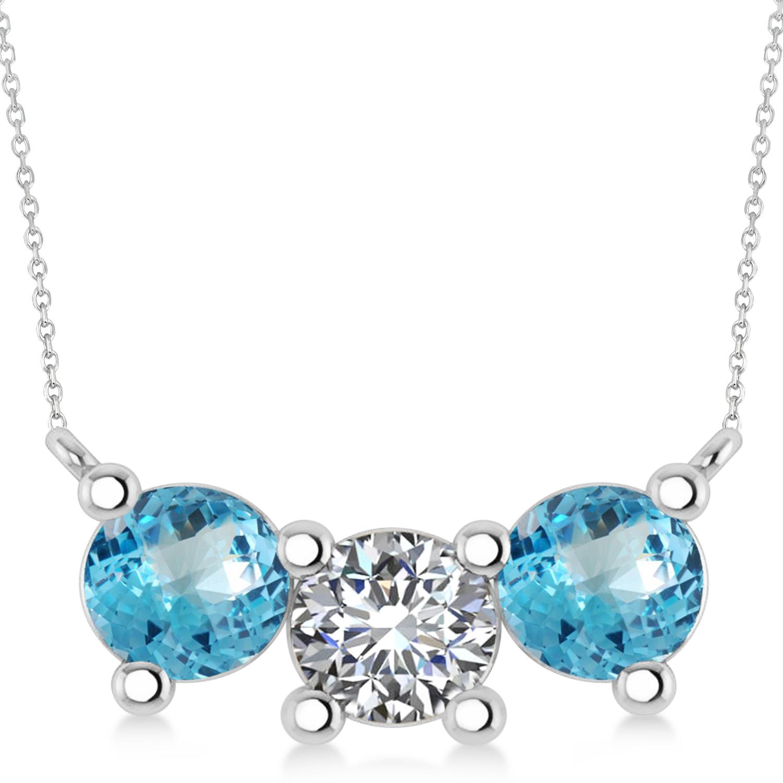 Three Stone Diamond & Blue Topaz Pendant Necklace 14k White Gold (3.00ct)