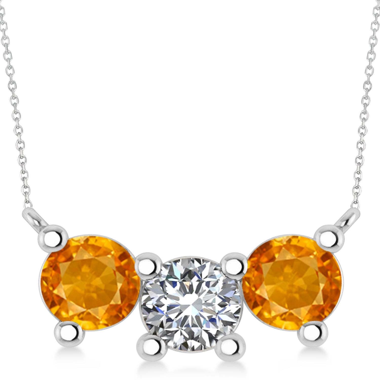 Three Stone Diamond & Citrine Pendant Necklace 14k White Gold (3.00ct)