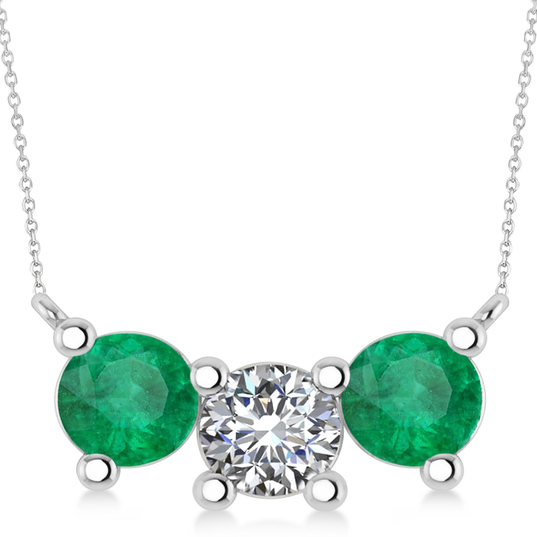 Three Stone Diamond & Emerald Pendant Necklace 14k White Gold (3.00ct)