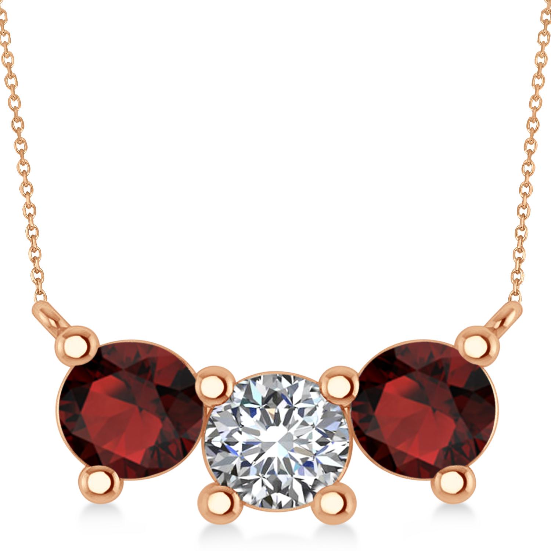 Three Stone Diamond & Garnet Pendant Necklace 14k Rose Gold (3.00ct)
