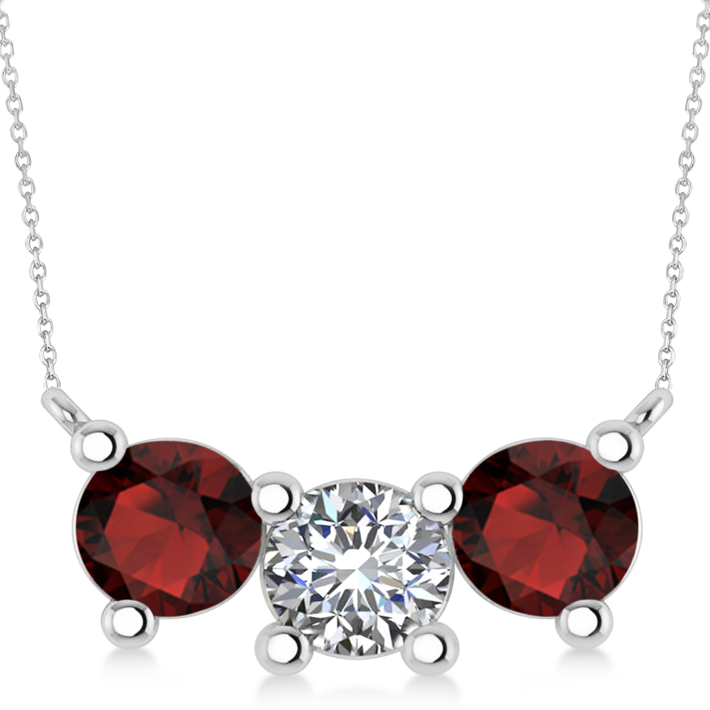 Three Stone Diamond & Garnet Pendant Necklace 14k White Gold (3.00ct)