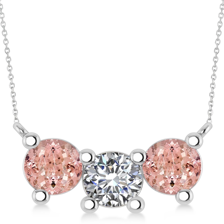 Three Stone Diamond & Morganite Pendant Necklace 14k White Gold (3.00ct)