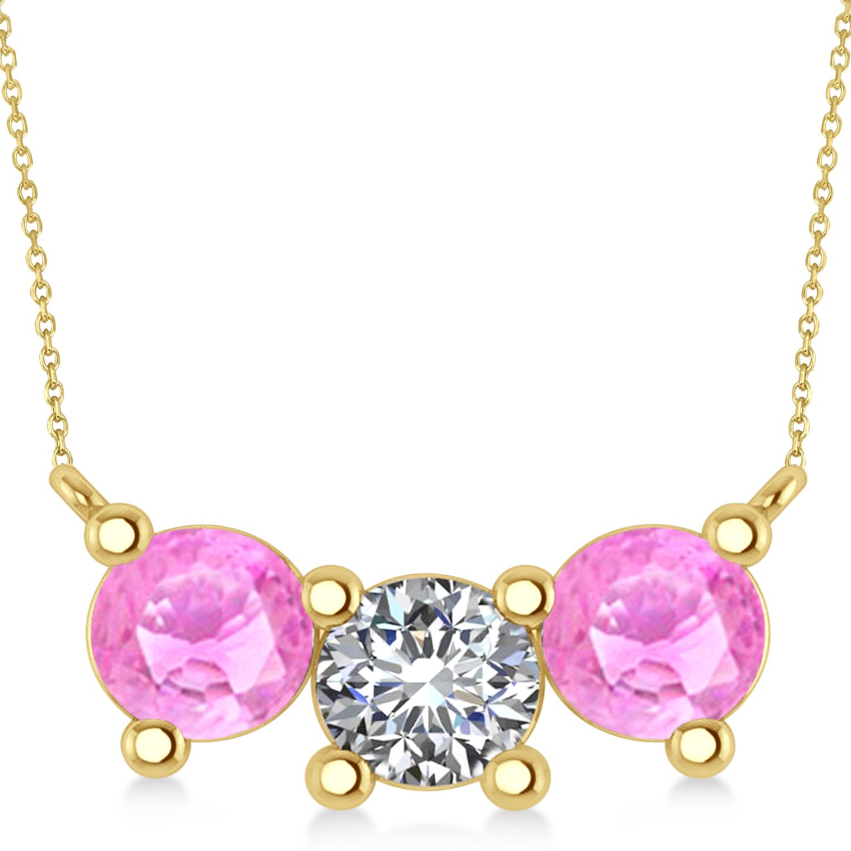 Three Stone Diamond & Pink Sapphire Pendant Necklace 14k Yellow Gold (3.00ct)