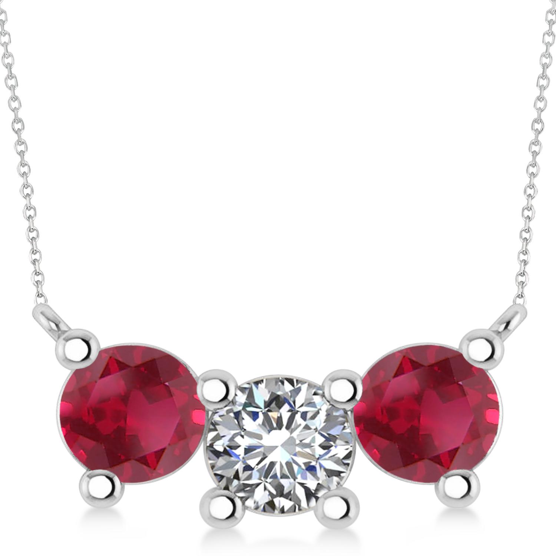 Three Stone Diamond & Ruby Pendant Necklace 14k White Gold (3.00ct)