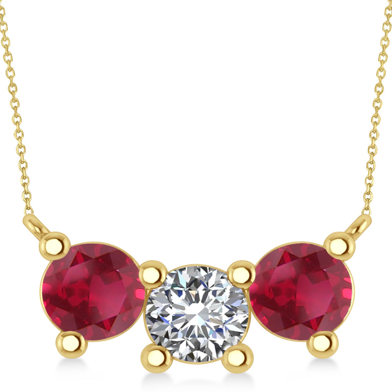 Three Stone Diamond & Ruby Pendant Necklace 14k Yellow Gold (3.00ct)