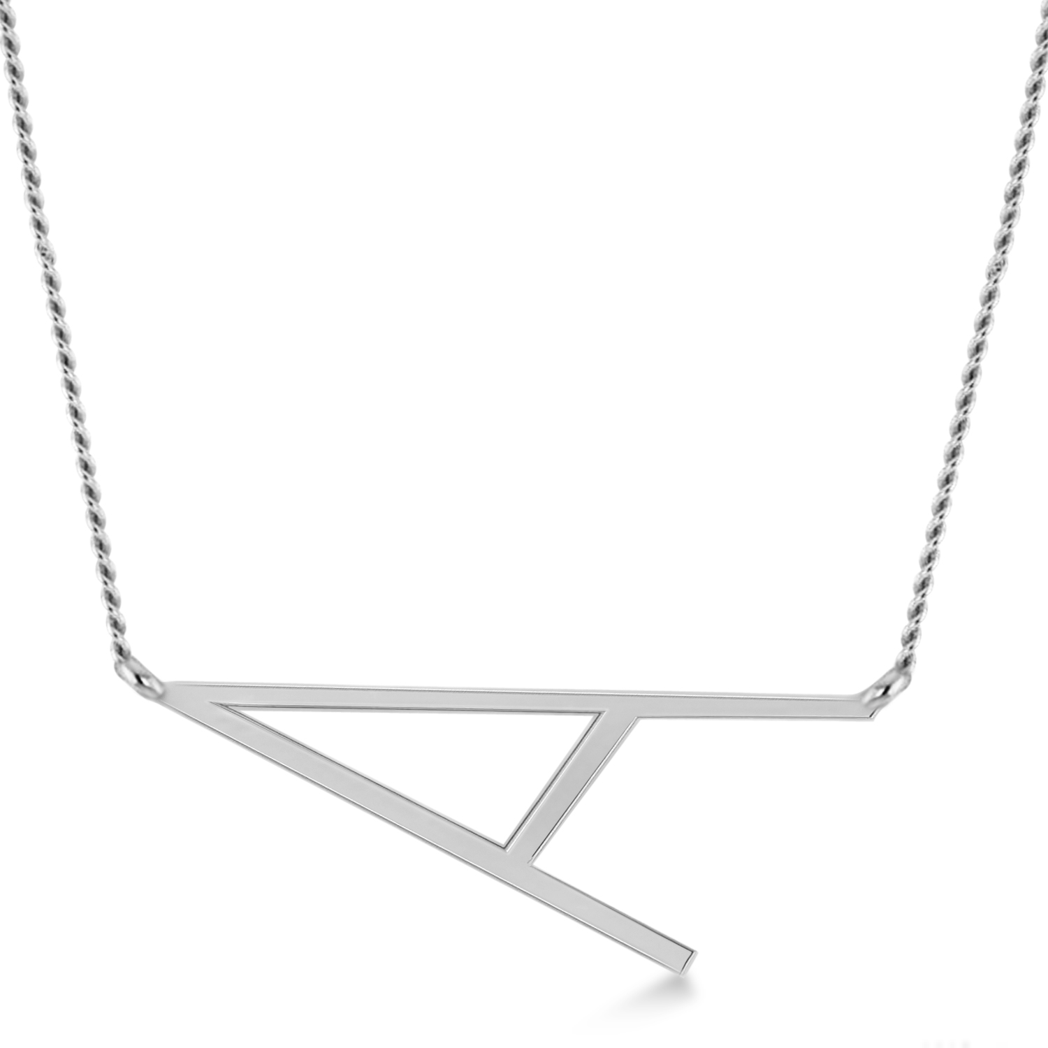 Personalized Large Tilted Initial Necklace 14k White Gold
