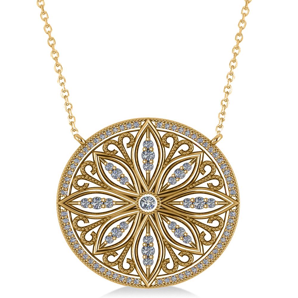 Antique Style Flower Diamond Pendant Necklace 14k Yellow