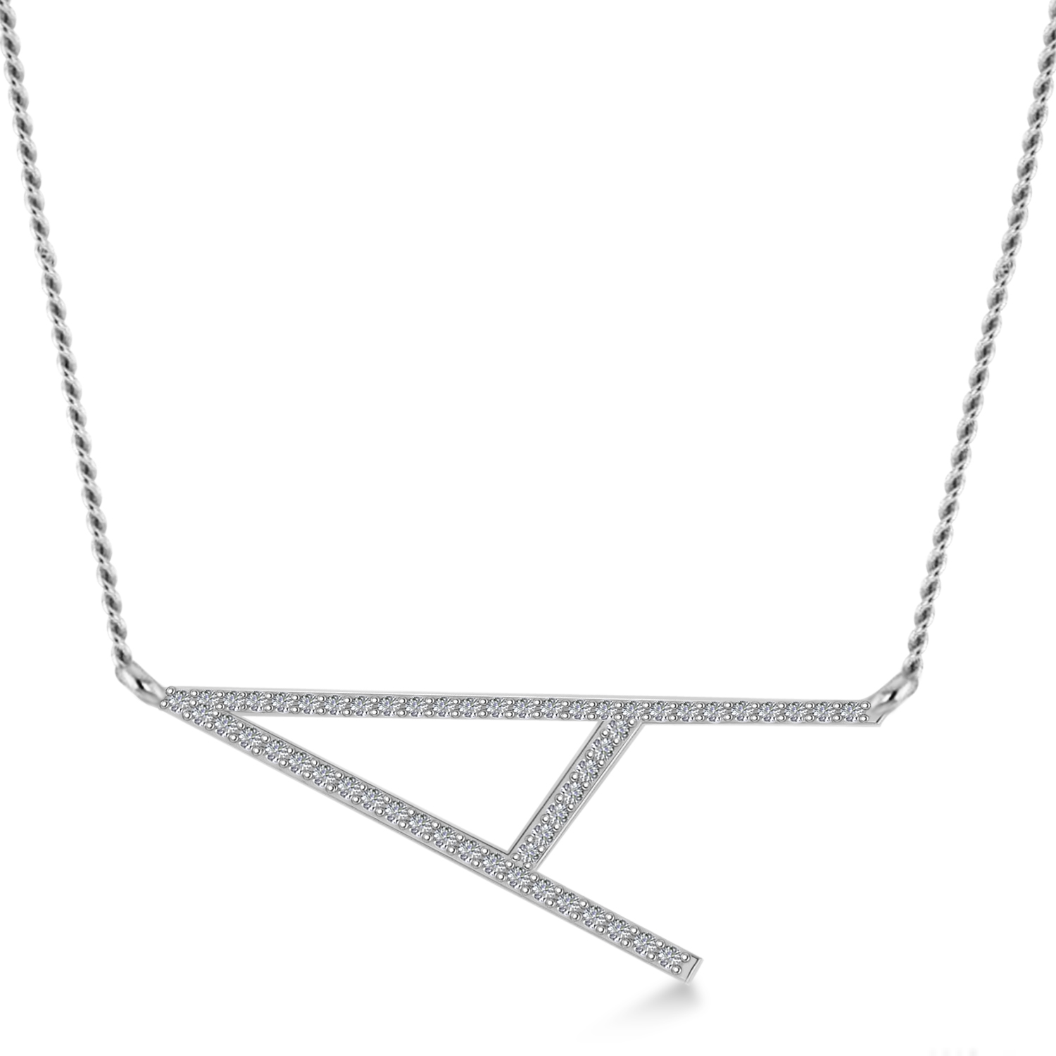 Personalized Diamond Large Tilted Initial Necklace 14k White Gold
