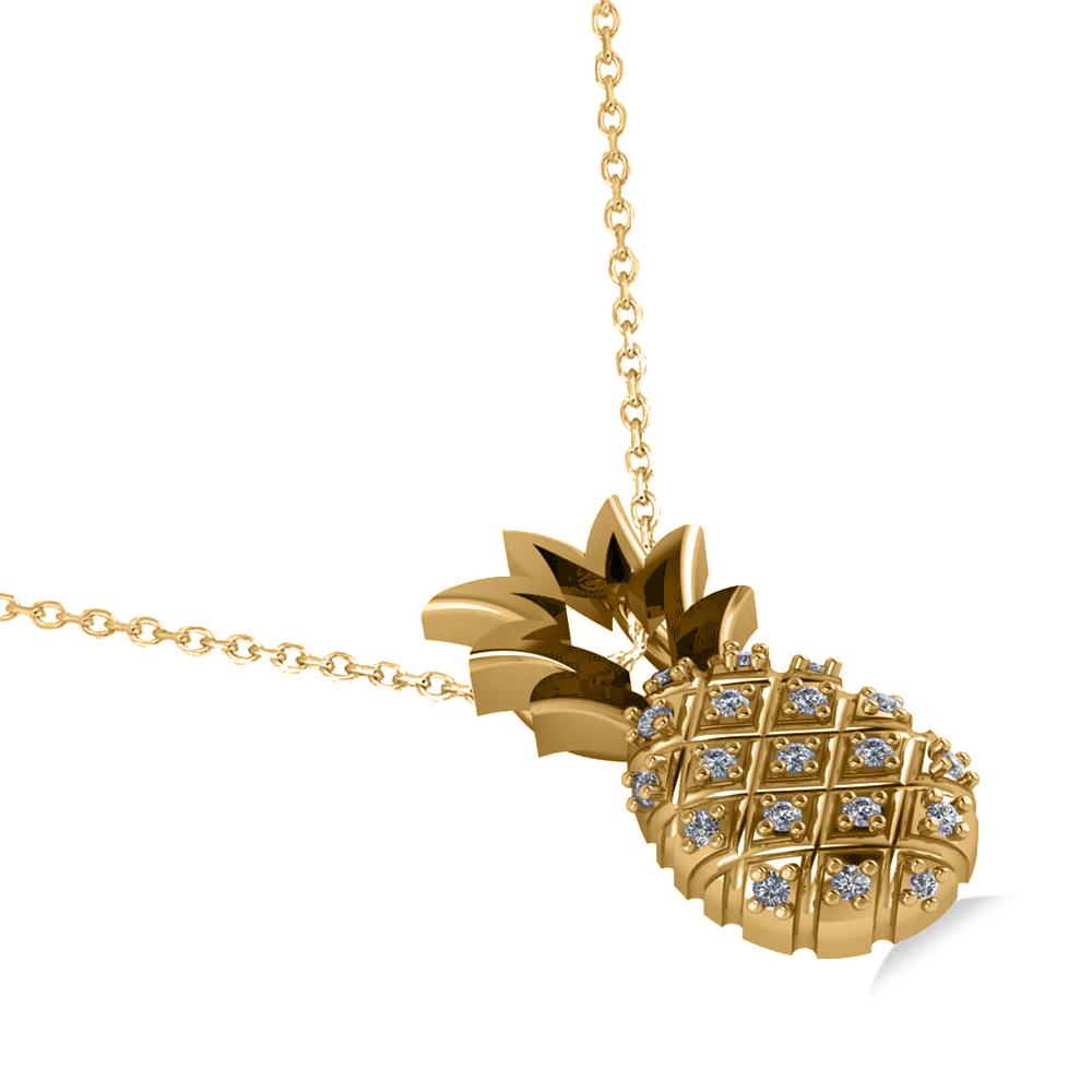 Diamond Pineapple Fashion Pendant Necklace 14k Yellow Gold