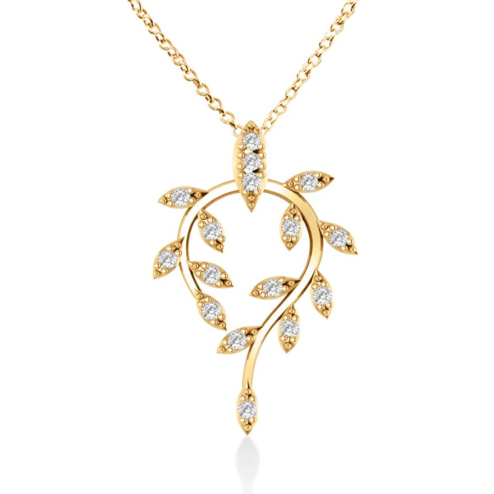 Diamond Vine Leaf Pendant Necklace 14k Yellow Gold (0.24ct)