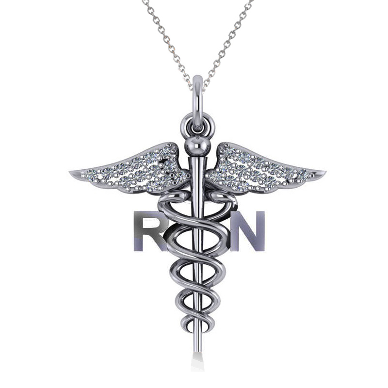 Diamond Caduceus Rn Medical Symbol Pendant 14k White Gold 013ct