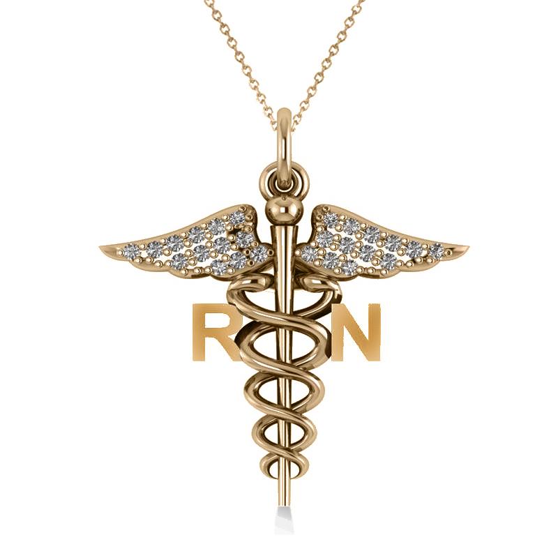 Diamond Caduceus RN Medical Symbol Pendant 14k Yellow Gold (0.13ct)