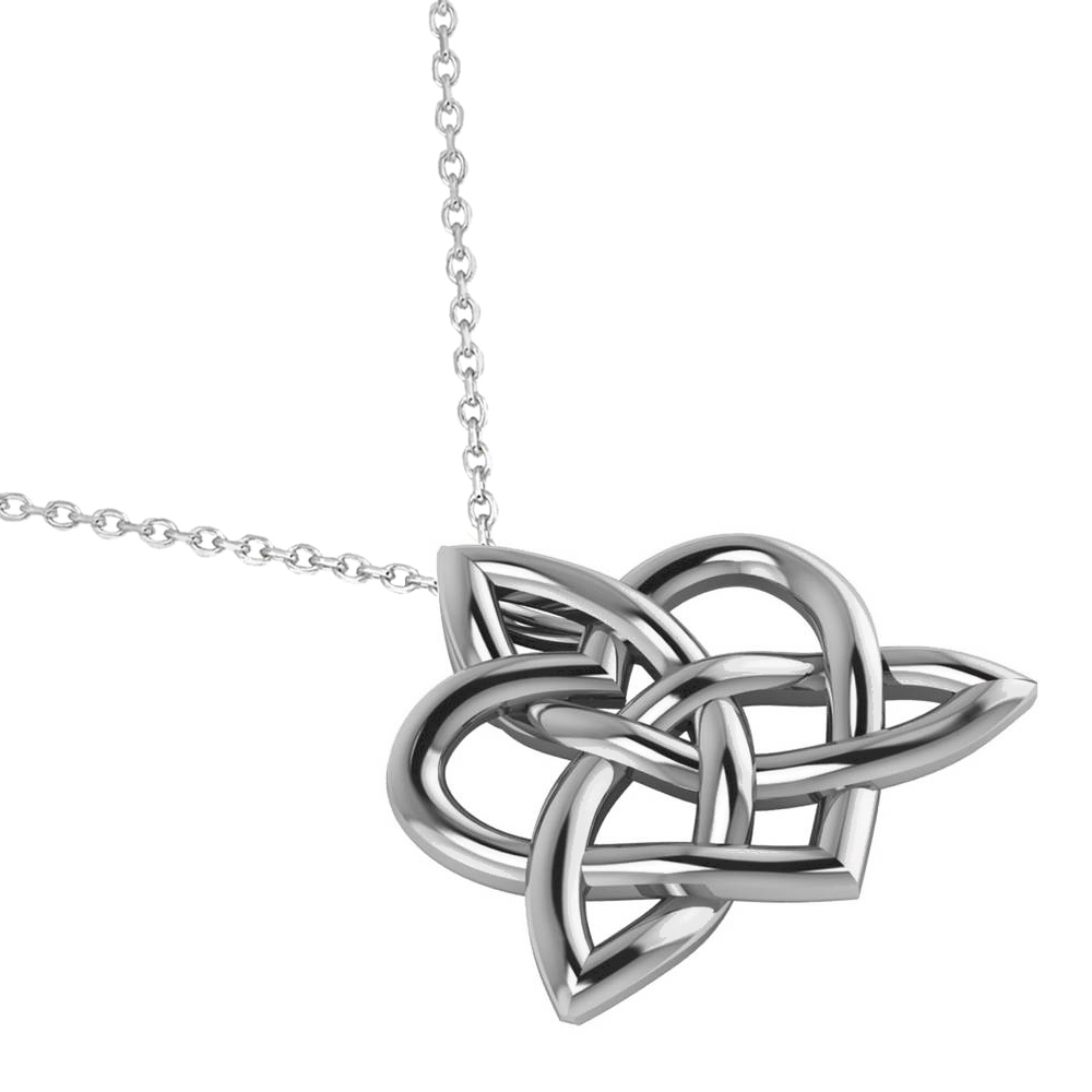 Celtic Trinity Knot Heart Pendant Necklace 14k White Gold