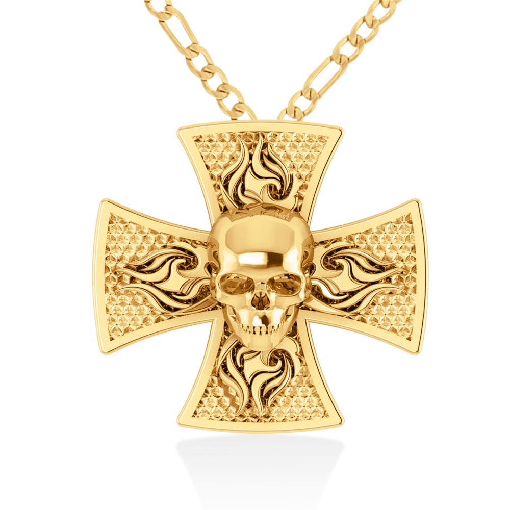 Skull & Cross Men's Pendant Necklace 14k Yellow Gold